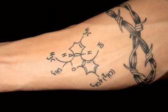 Drugs Formula Tattoo On Forearm