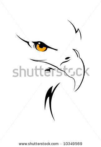 Eagle Head Isolated Tattoo On White Background