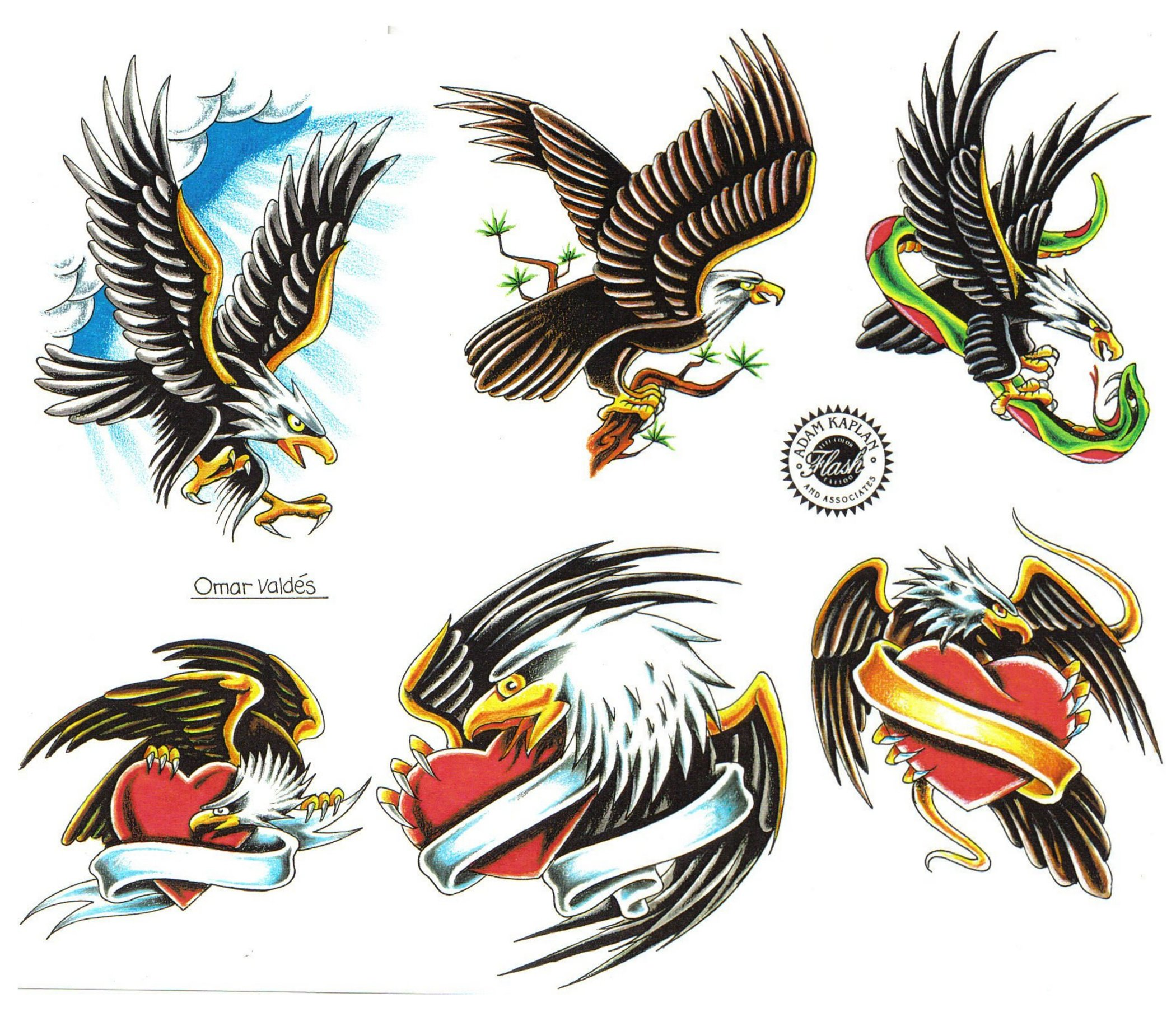 Traditional Eagle Tattoo Flash Salior Jerry Designs