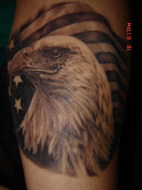 Eagle With American Flag Tattoo Design