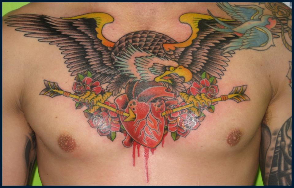 Eagle With Bloody Arrow Heart Tattoo On Chest