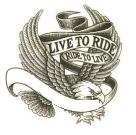 Eagle With Live to Ride Ride To Live Banner Tattoo
