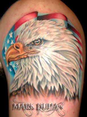 Eagle With US Flag Tattoo