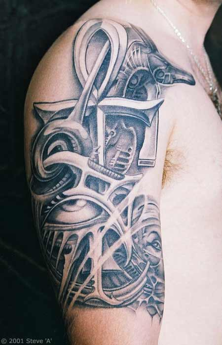 Egyptian Ankh Tattoo Design On Shoulder