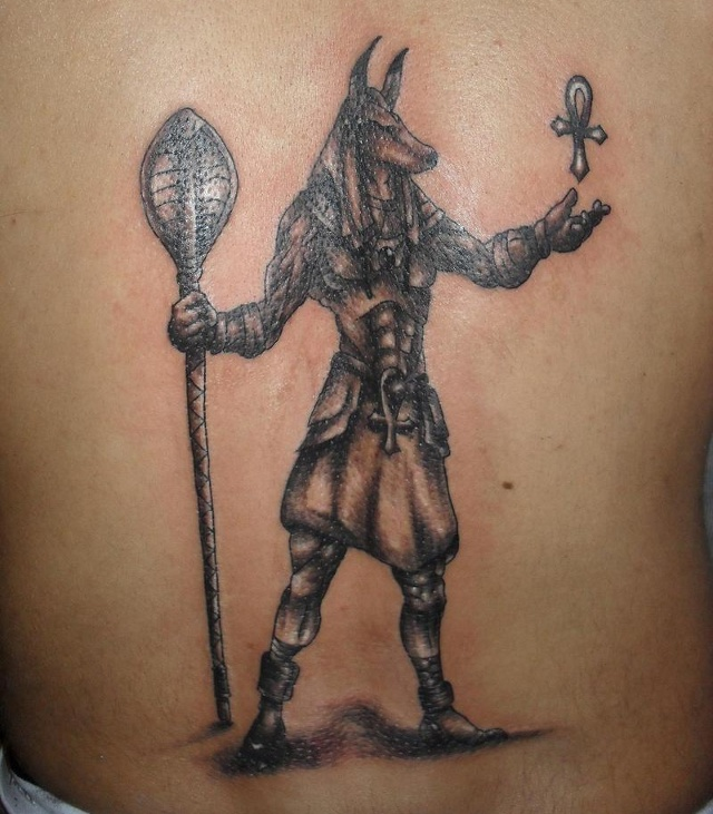 Egyptian Anubis Tattoo On The Back