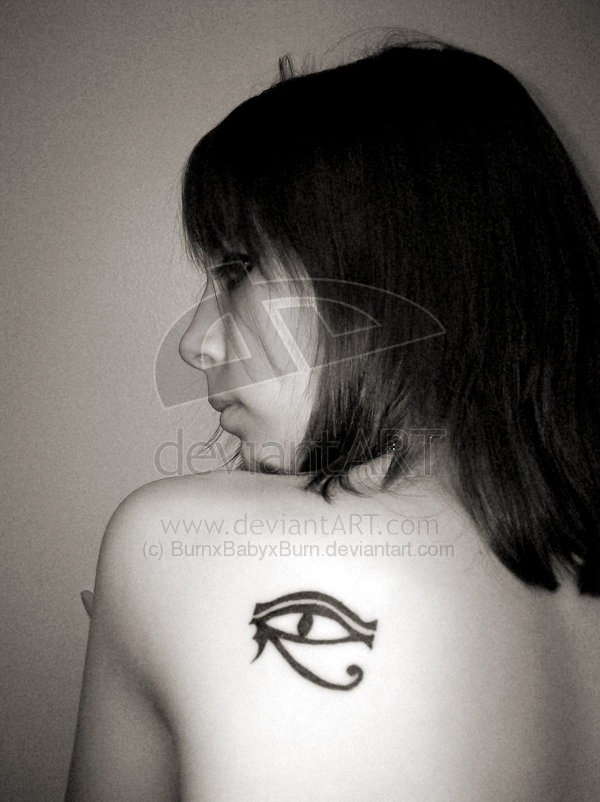 Egyptian Eye Tattoo On Back Shoulder Of Girl