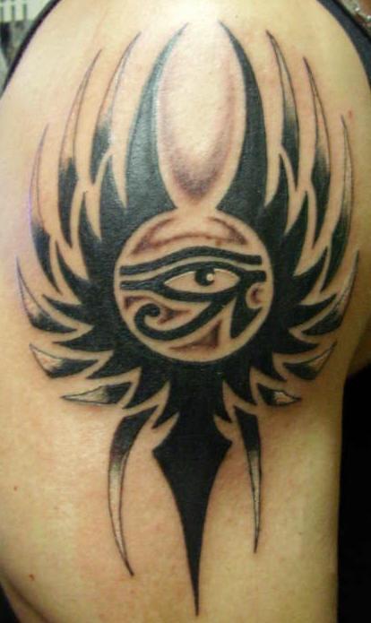 Egyptian Eye Tattoo On Biceps