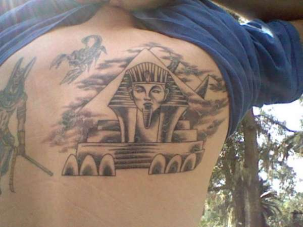 Egyptian Sphinx Tattoo Design On Back