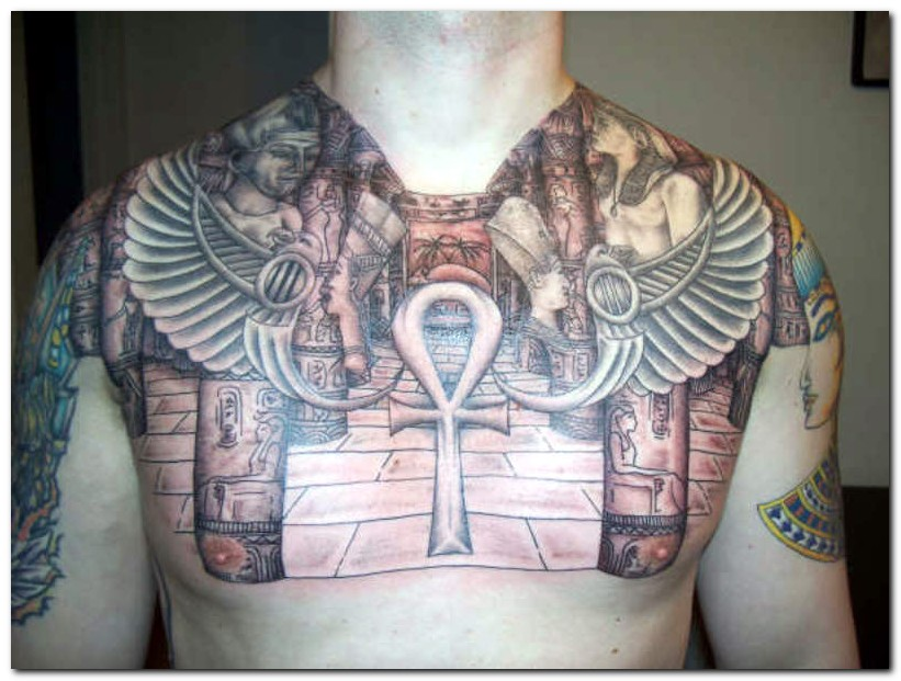 Egyptian Tattoo On Chest n Shoulders