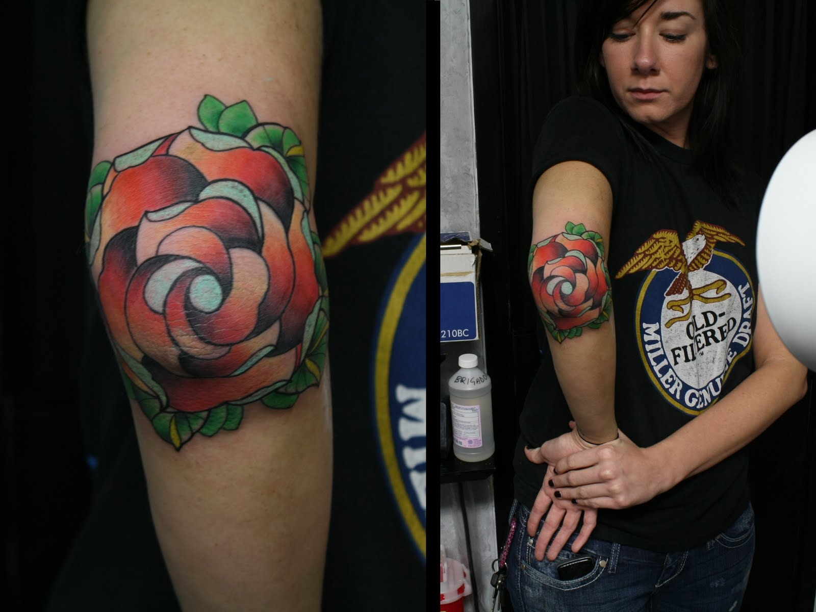 Elbow Rose Tattoo Design For Girls