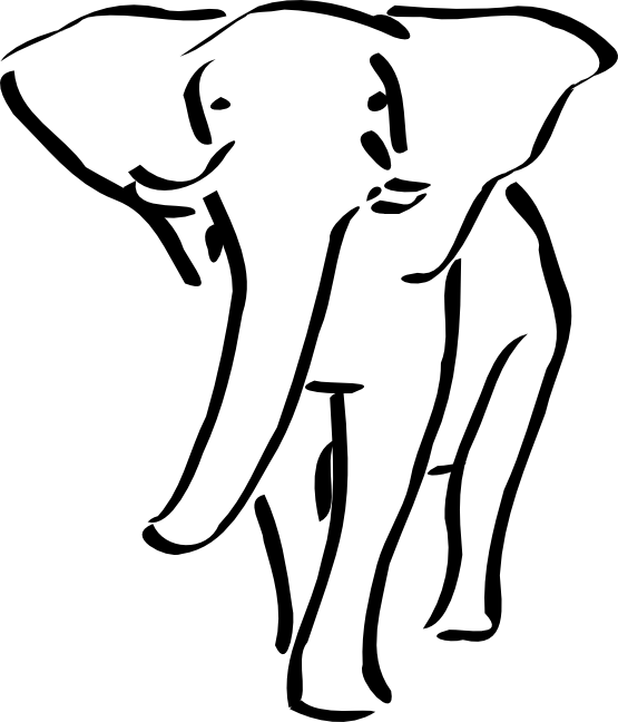 Elephant Black White Line Art Tattoo Design
