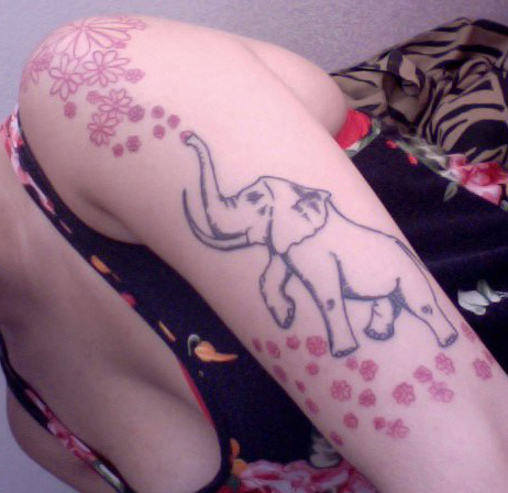 Elephant Outline Tattoo On Biceps