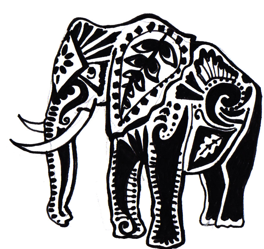 Elephant Tattoo Stencil