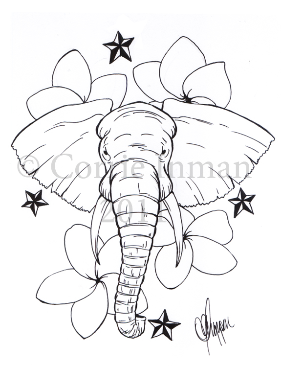 Elephant  With Nautical Stars Tattoo Design