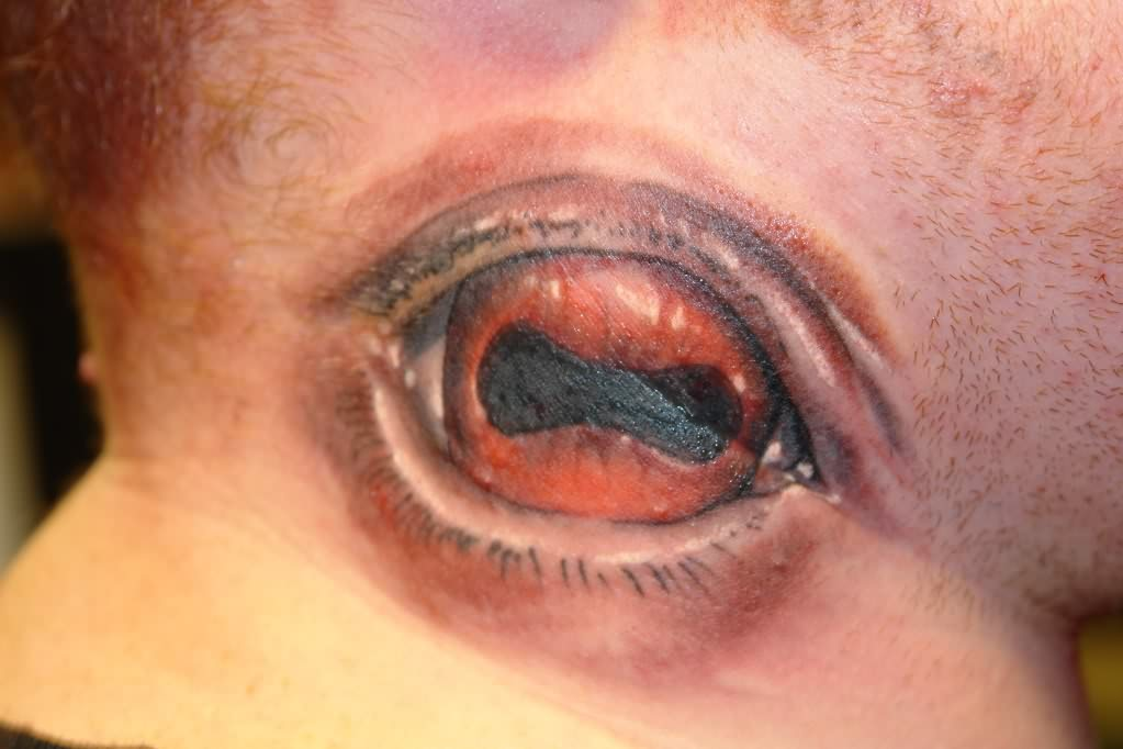 Extreme Eye Tattoo On Neck
