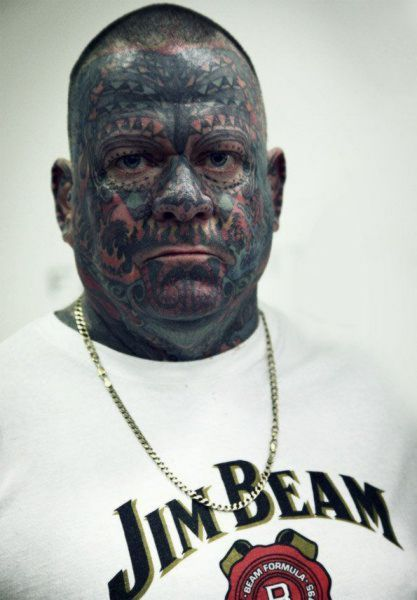 Extreme Horrible Face Tattoo Design