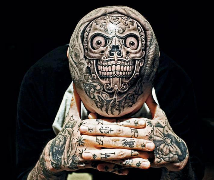 Extreme Skull Tattoo On Head