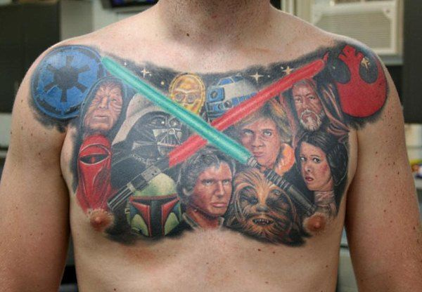 Extreme Star Wars Tattoo On Chest