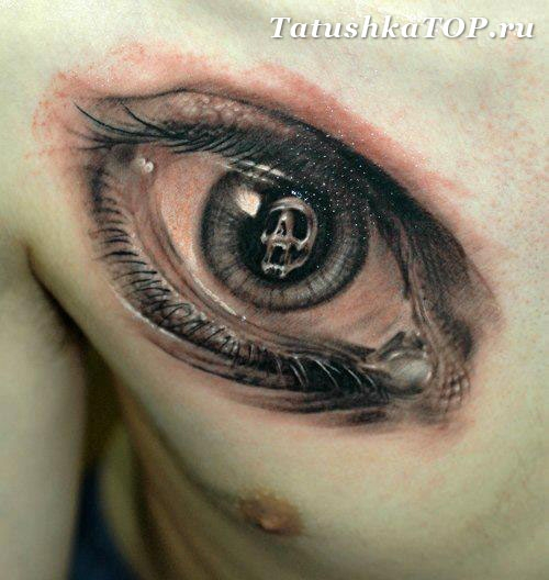 Eye Tattoo On Right Side Of Chest