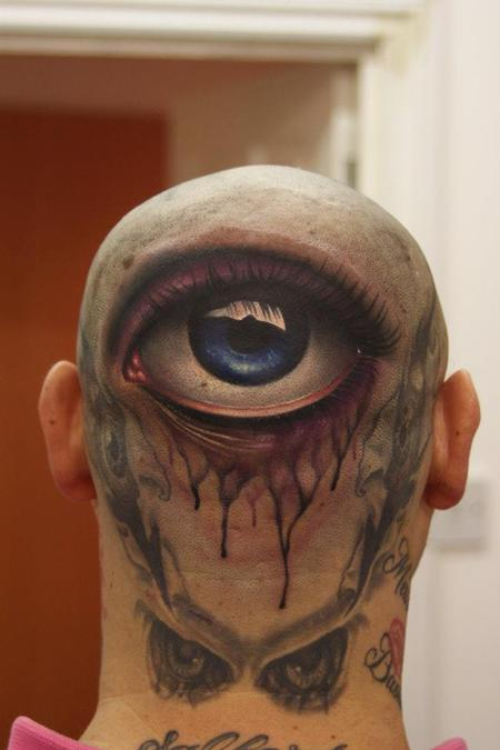 Eyes Tattoo On Back Head