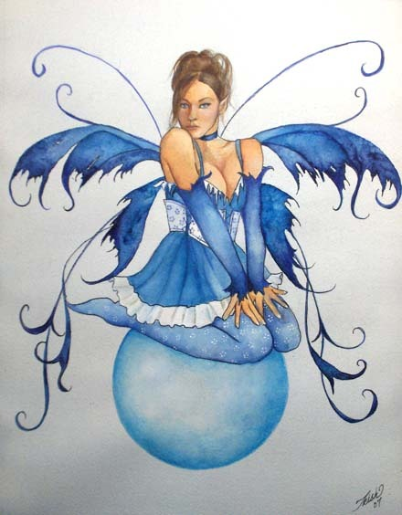 Fairy In Blue Dress Tattoo Design