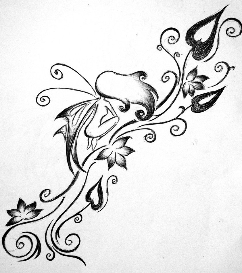 Fairy n Flower Vine Tattoo Design