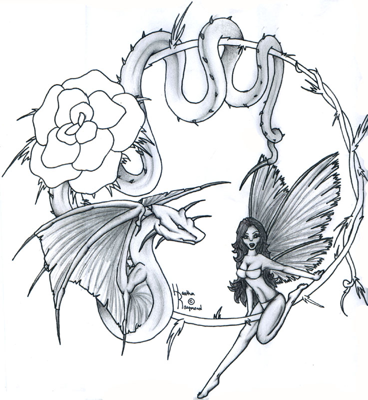 Fairy Rose Dragon n Snake Tattoo Design