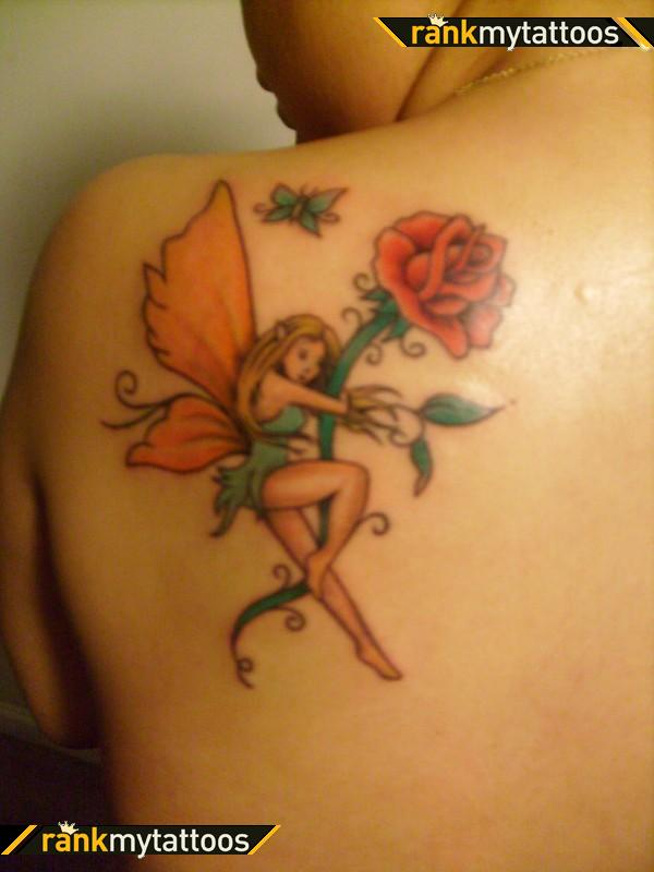 Fairy With Rose n Butterfly Tattoo On Back