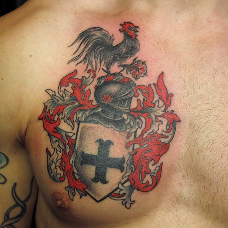 Family Crest Chest Piece Tattoo
