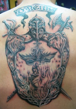 Family Crest Shield Tattoo On Back