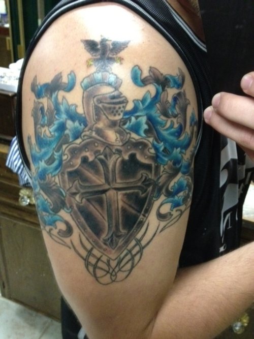 Family Crest Tattoo For Shoulder