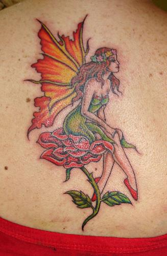 Fantasy Fairy n Rose Tattoo On Back