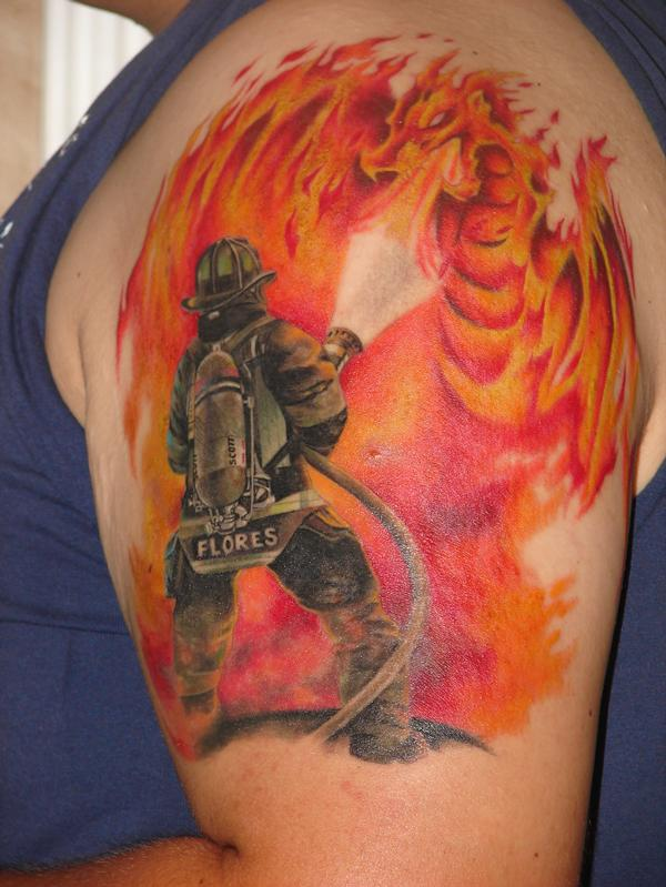 Firefighter n Flamming Dragon Tattoo On Upper Arm