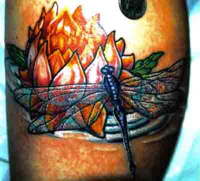 Flaming Flower n Dragonfly Tattoo