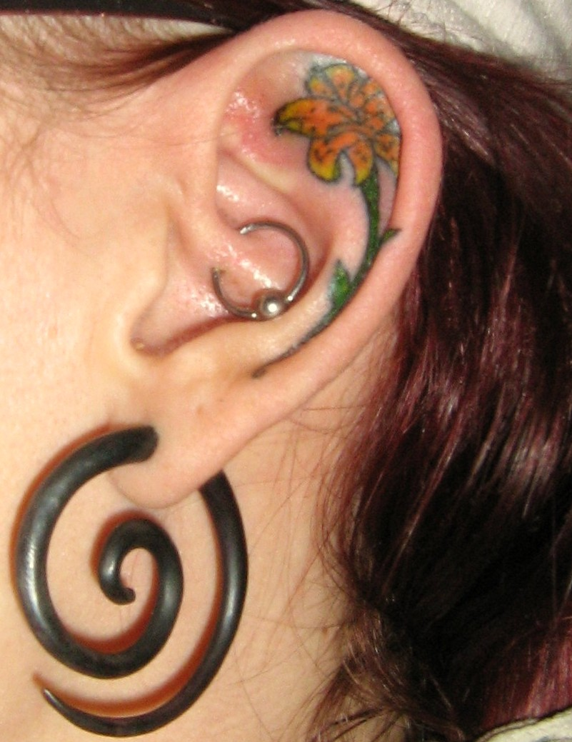 Flower Ear Tattoo