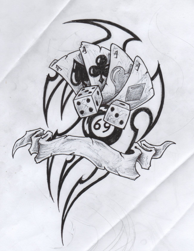 Gambling Cards Dice n 8 Ball Tattoo Drawing