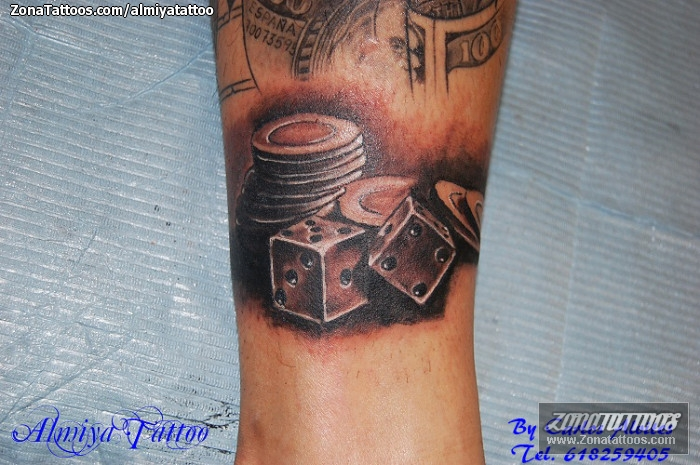 Gambling Coins n Dice Tattoo Design