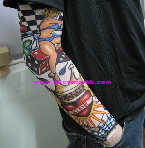 Girl Red Dice n Crown Heart Tattoo Design On Sleeve