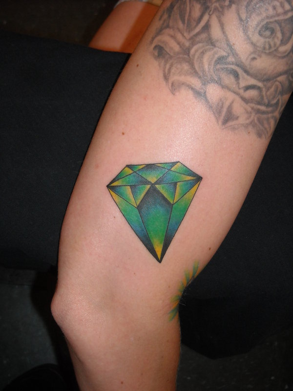 Green Diamond Tattoo On Elbow