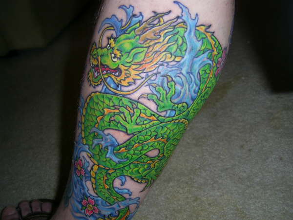Green Dragon Tattoo On Leg