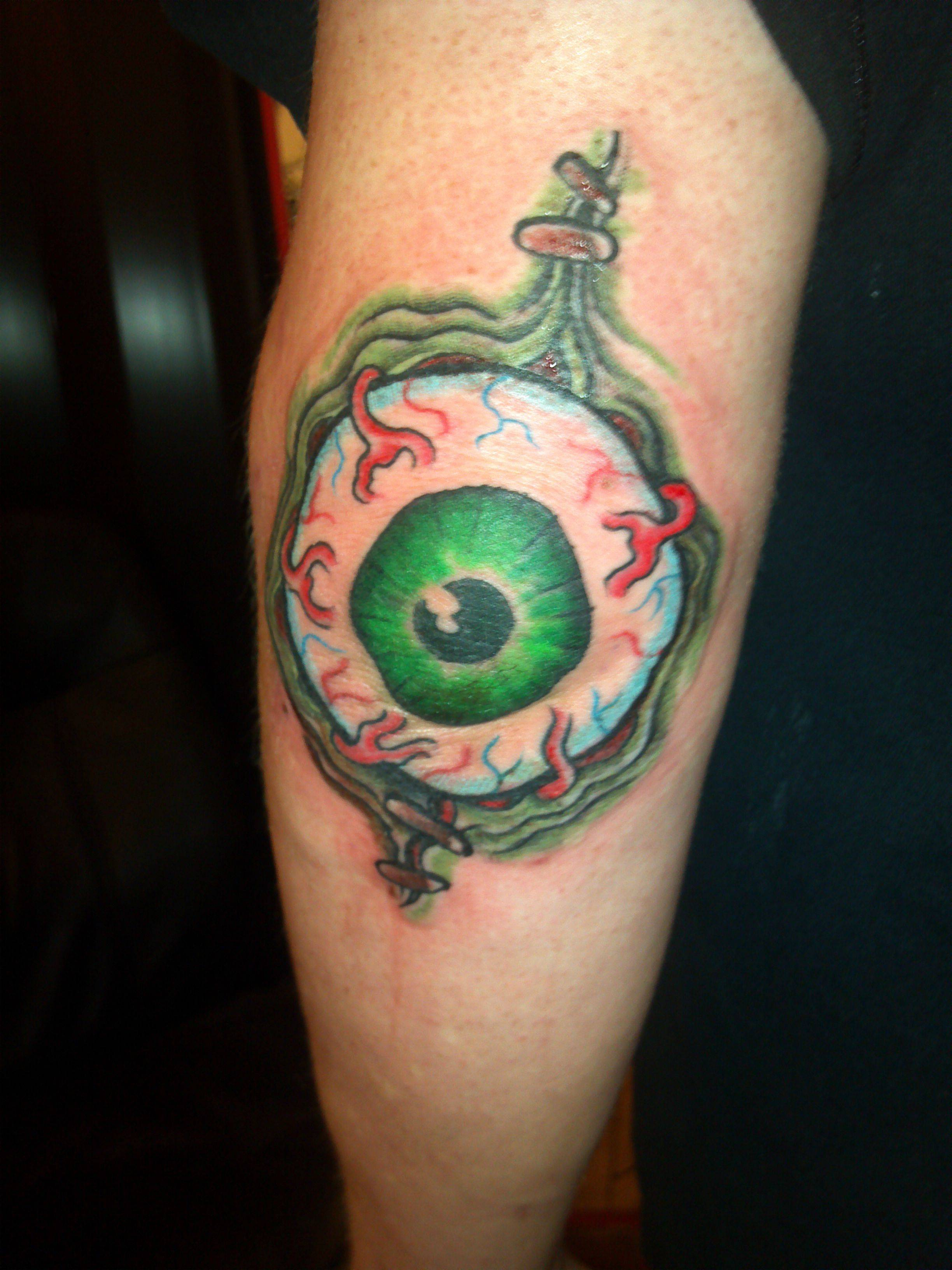 Green Eye Elbow Tattoo Design