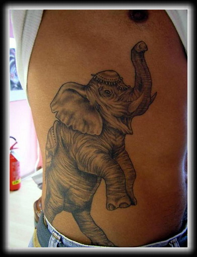 Grey Ink Elephant Tattoo Design On Ribs