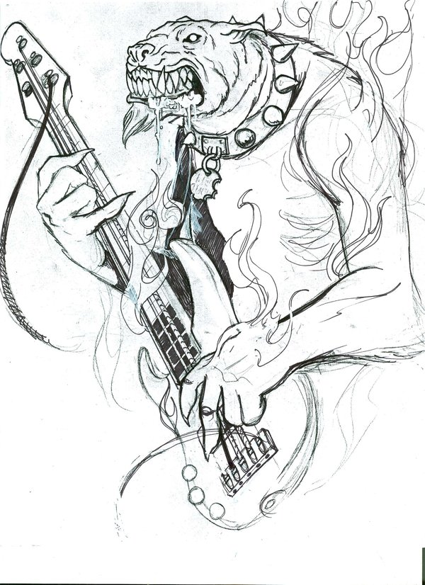 Hell Dog With Guitar Tattoo Sample