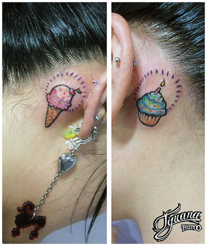 Ice Cream Cone n Cup Cake Back Ear Tattoo Designs