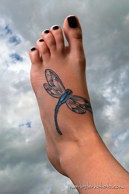 Impressive Dragonfly Tattoo On Foot