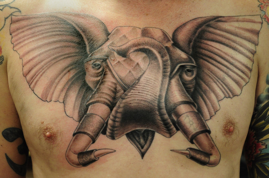Incredible Elephant Tattoo On Chest