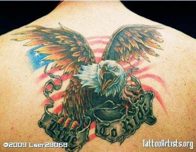 Live To Ride Eagle Tattoo On Back