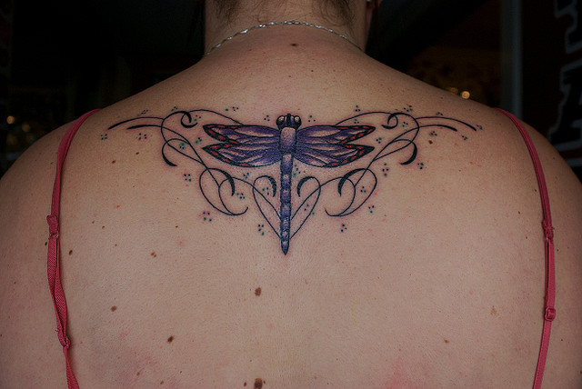Lovely Dragonfly Tattoo On Upperback