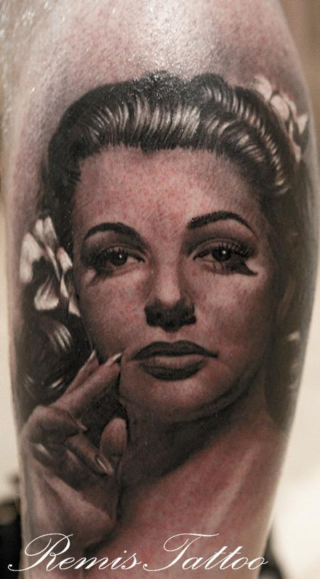 Lovely Woman Face Portrait Tattoo Design