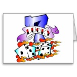 Lucky 7 Dice Tattoo Greeting Card